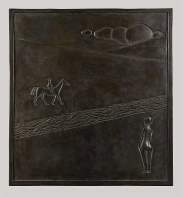Fondation Giacometti -  [Nude Woman and a Rider in a Landscape, bas-relief]