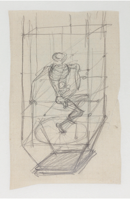Fondation Giacometti -  [Skeleton in a cage, project for the Frontispiece for Les pieds dans le plat by René Crevel]