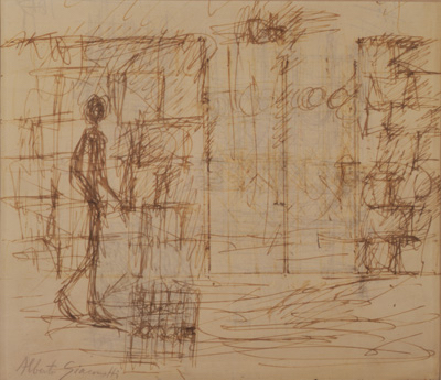 Fondation Giacometti -  [Wall and gate with figure] (recto) / [Study of gate] (verso)
