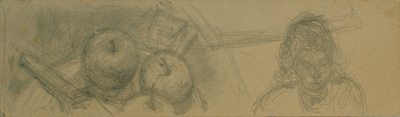 Fondation Giacometti -  [Still Life with Apples and Bust of a Woman] (recto) / [Apples and Knife] (verso)