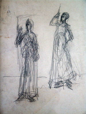 Fondation Giacometti -  [After Andrea del Castagno : Sibylle de Cumes and Reine Tomyris]