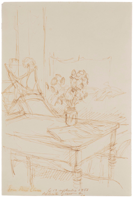 Fondation Giacometti - Interior with Flowers and Newspaper